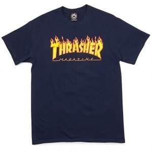 Thrasher Magazine Flame Navy Small T-Shirt