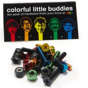 Enjoi Little Buddies Bolts Hardware Multi-Color – 7/8in (10 piece)